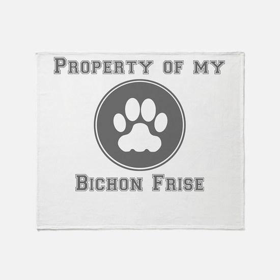 Property Of My Bichon Frise Throw Blanket