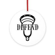 Lacrosse Defend Head Black Ornament (Round)