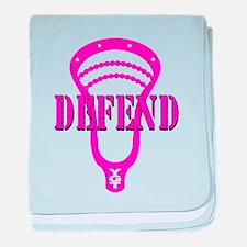 Lacrosse Defend Head Pink baby blanket