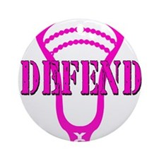 Lacrosse Defend Head Pink Ornament (Round)
