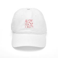 Rosy Snowflakes Baseball Baseball Cap