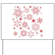 Rosy Snowflakes Yard Sign