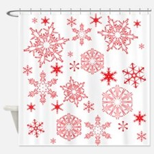 Rosy Snowflakes Shower Curtain