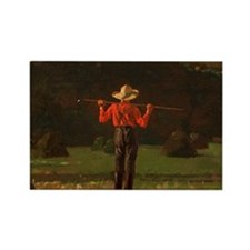 Winslow Homer - Farmer with a Pit Rectangle Magnet