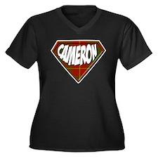 Cameron Superhero Women's Plus Size V-Neck Dark T-