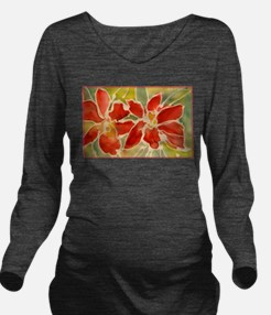 Red orchids! Beautiful art! Long Sleeve Maternity