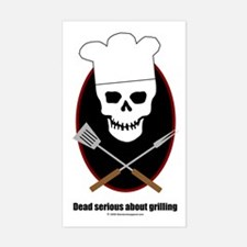 Dead serious about grilling Rectangle Decal