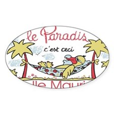 dodo in paradise island Oval Decal