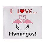 I Love Flamingos Throw Blanket