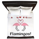 I Love Flamingos King Duvet
