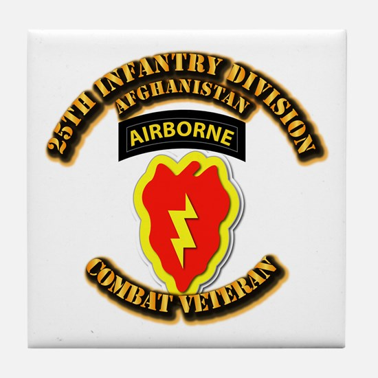 Army - 25th ID w Cbt Vet - Afghan Tile Coaster