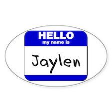 hello my name is jaylen Oval Decal