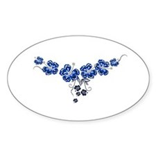 blue hibiscus Oval Decal