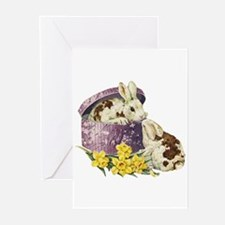 Easter Bunny Daffodils Greeting Cards