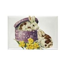 Easter Bunny Daffodils Rectangle Magnet