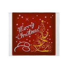 Christmas red scene Throw Blanket