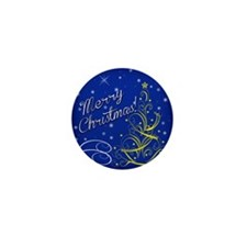 Christmas scene words Mini Button