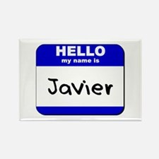 hello my name is javier Rectangle Magnet