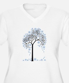 Winter tree with birds Plus Size T-Shirt