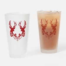 Red Christmas deer heads Drinking Glass