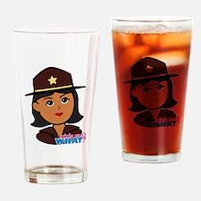 Woman Sheriff Head Dark Drinking Glass