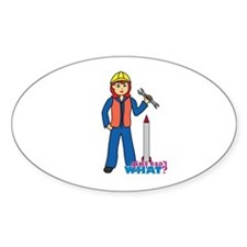 Rocket Scientist Woman Light Red Decal