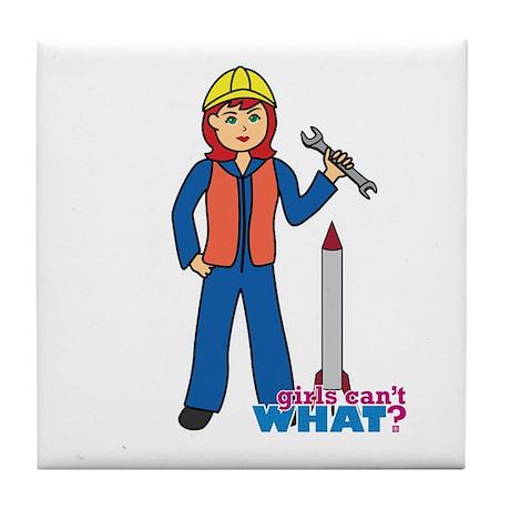 Rocket Scientist Woman Light Red Tile Coaster