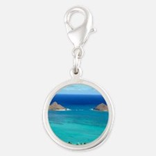 lanikai beach hawaii Silver Round Charm