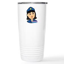 Woman Police Officer Head Medium Travel Mug