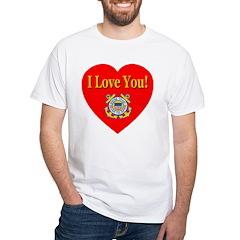 I Love You USCG Emblem & Heart White T-Shirt