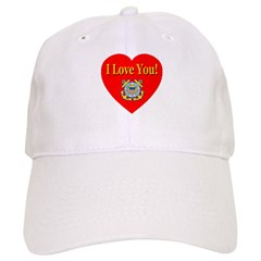 I Love You USCG Emblem & Heart Baseball Cap