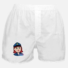 Woman Police Officer Head Light/Red Boxer Shorts