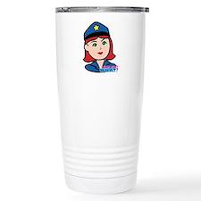 Woman Police Officer Head Light/Red Travel Mug