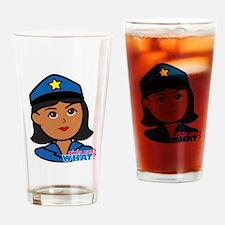 Woman Police Officer Head Dark Drinking Glass