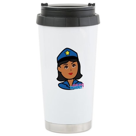 Woman Police Officer Head Dark Stainless Steel Tra