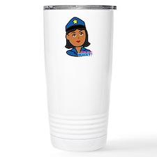 Woman Police Officer Head Dark Travel Mug