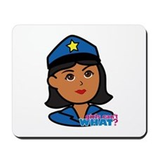 Woman Police Officer Head Dark Mousepad