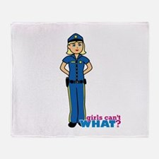 Woman Police Officer Light/Blonde Throw Blanket