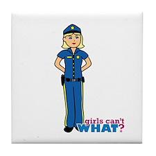 Woman Police Officer Light/Blonde Tile Coaster