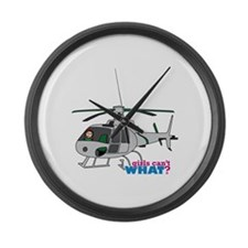 Girl Helicopter Pilot Light/Red Large Wall Clock