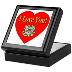 I Love You USCG Emblem & Heart Keepsake Box