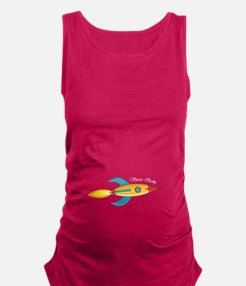 Space Baby Rocket Ship Maternity Tank Top