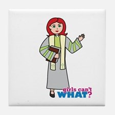 Preacher Woman Light/Red Tile Coaster