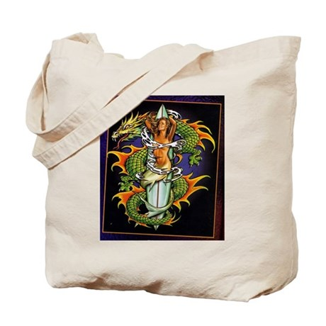 dragon and mermaid Tote Bag