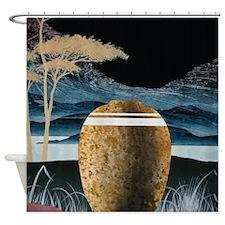 Earthen Vase In Mountain Landscape Shower Curtain