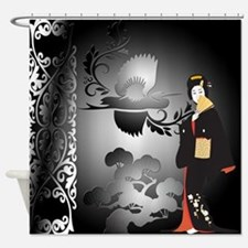 Japanese Woman With Bonsai And Bird Shower Curtain