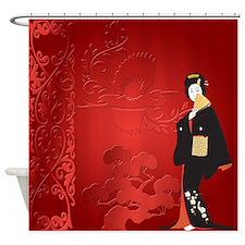 Japnese Woman With Baonsai And Bird Shower Curtain