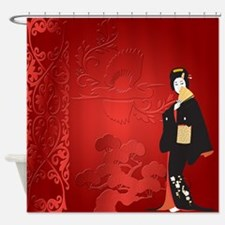 Japnese Woman With Baonsai And Bird Shower Curtain