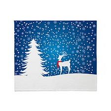 Reindeer in the Snow Throw Blanket