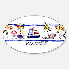 Mauritius beach Oval Decal
